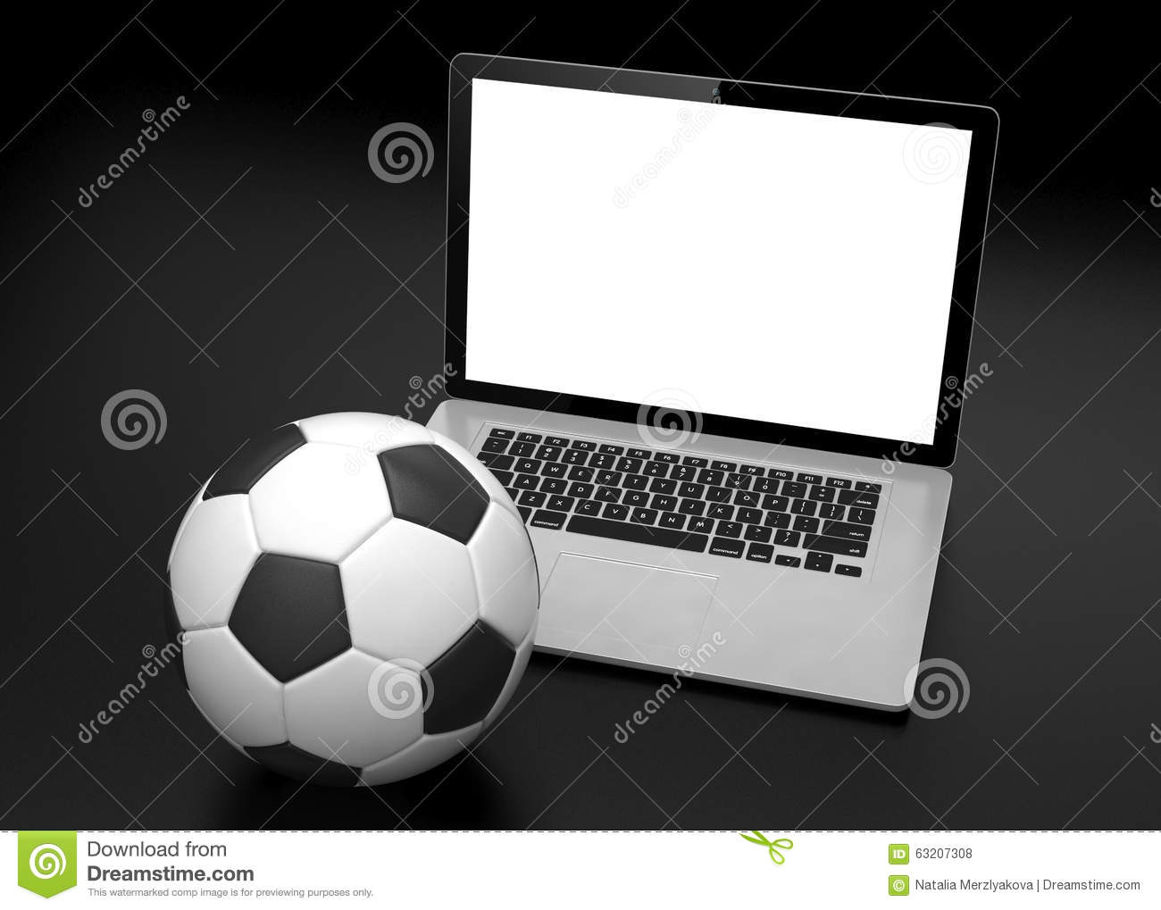 Laptop And Soccer Football Ball On Line Soccer Stock Photo Image