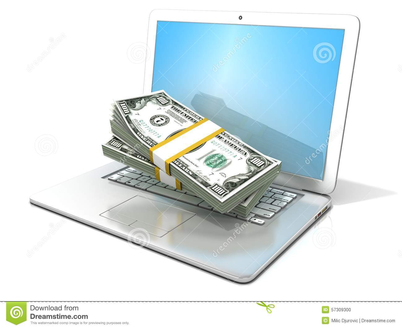 Laptop with stacks of hundreds dollars concept of online for Rendering online free