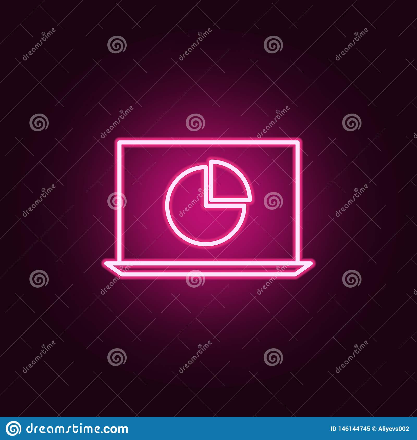 Laptop Statistics Neon Icon  Elements Of Online And Web Set