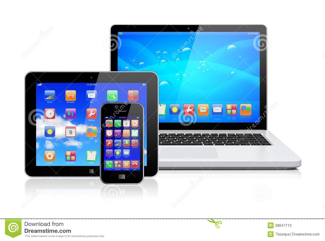 Laptop, Tablet Pc And Smartphone Stock Illustration ... Laptop Vector Illustration