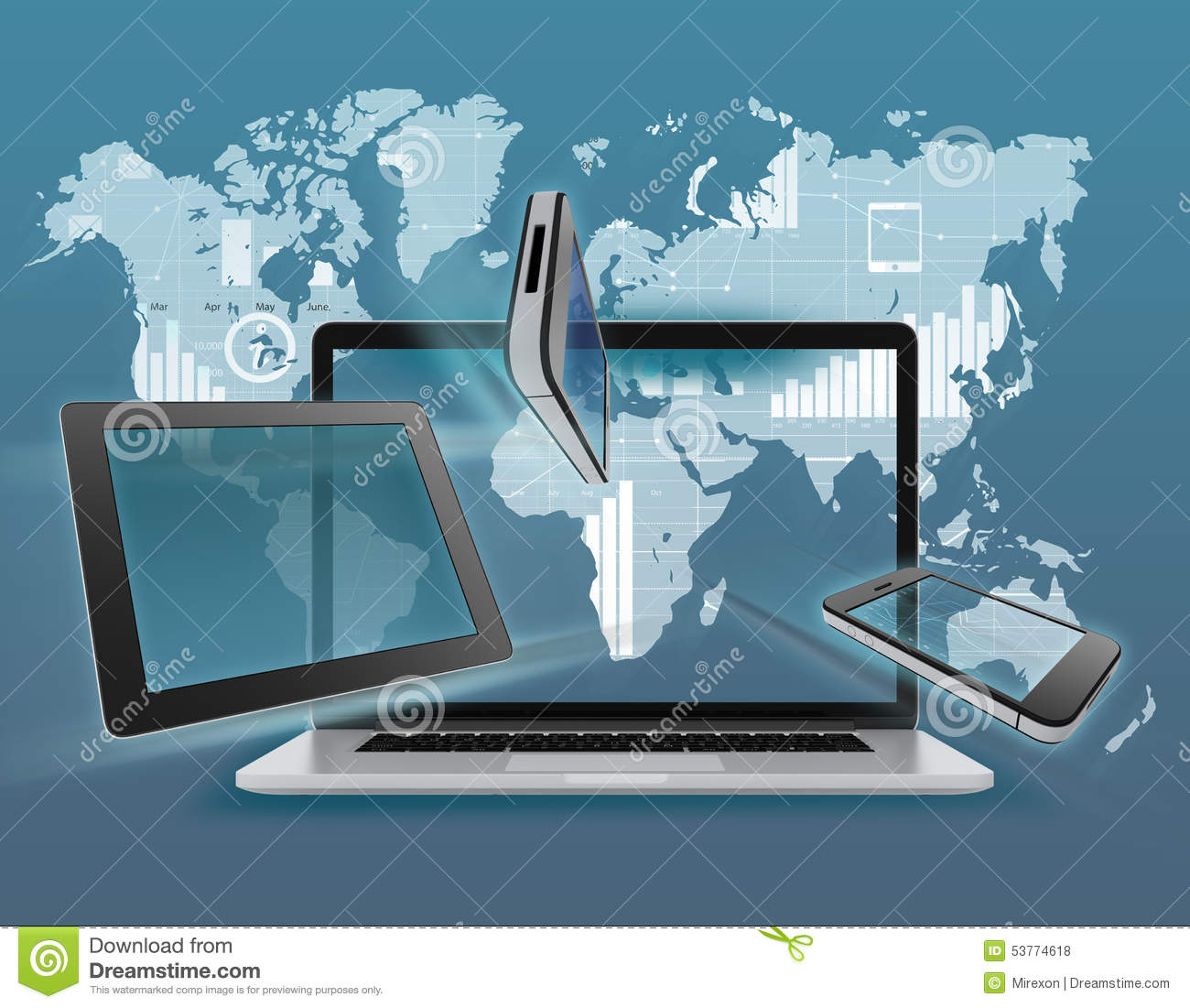 Laptop tablet phone on background of world map stock illustration laptop tablet phone on background of world map royalty free illustration download laptop gumiabroncs Images