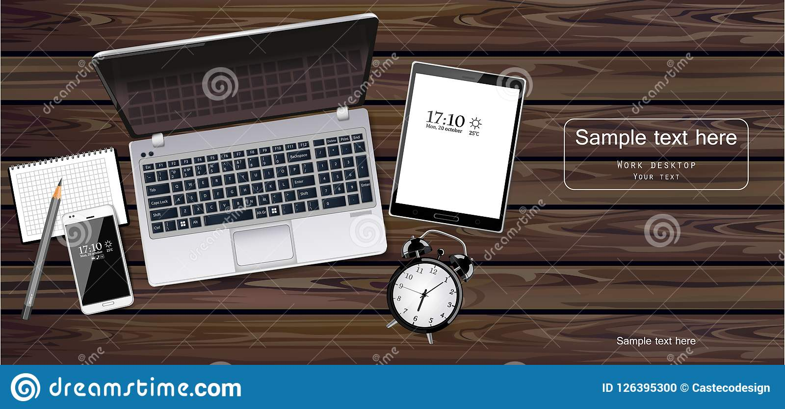 Laptop, tablet and phone Vector realistic. New technology gadgets. Detailed 3d illustrations