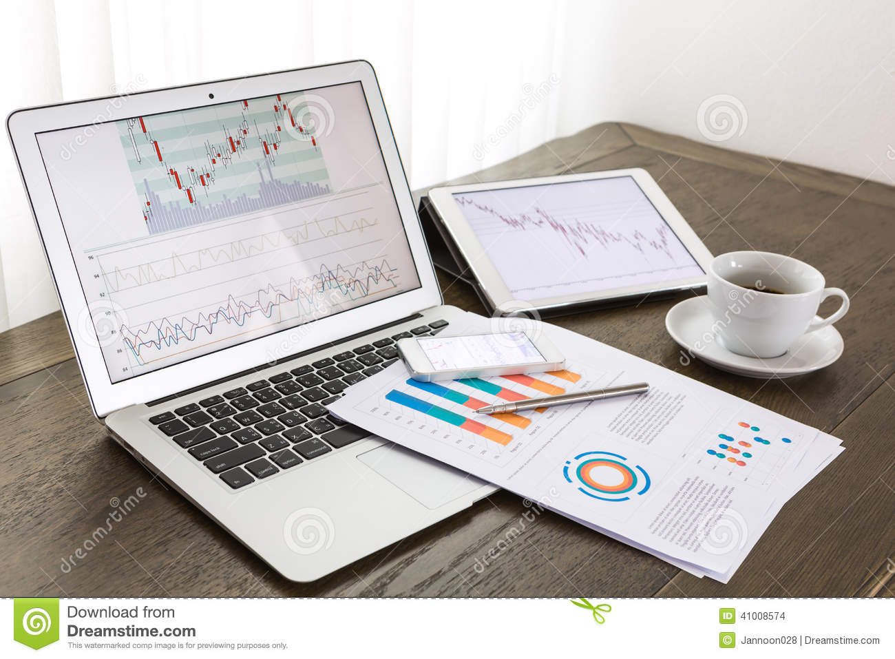 Laptop, Tablet , Smartphone With Financial Documents Stock ...