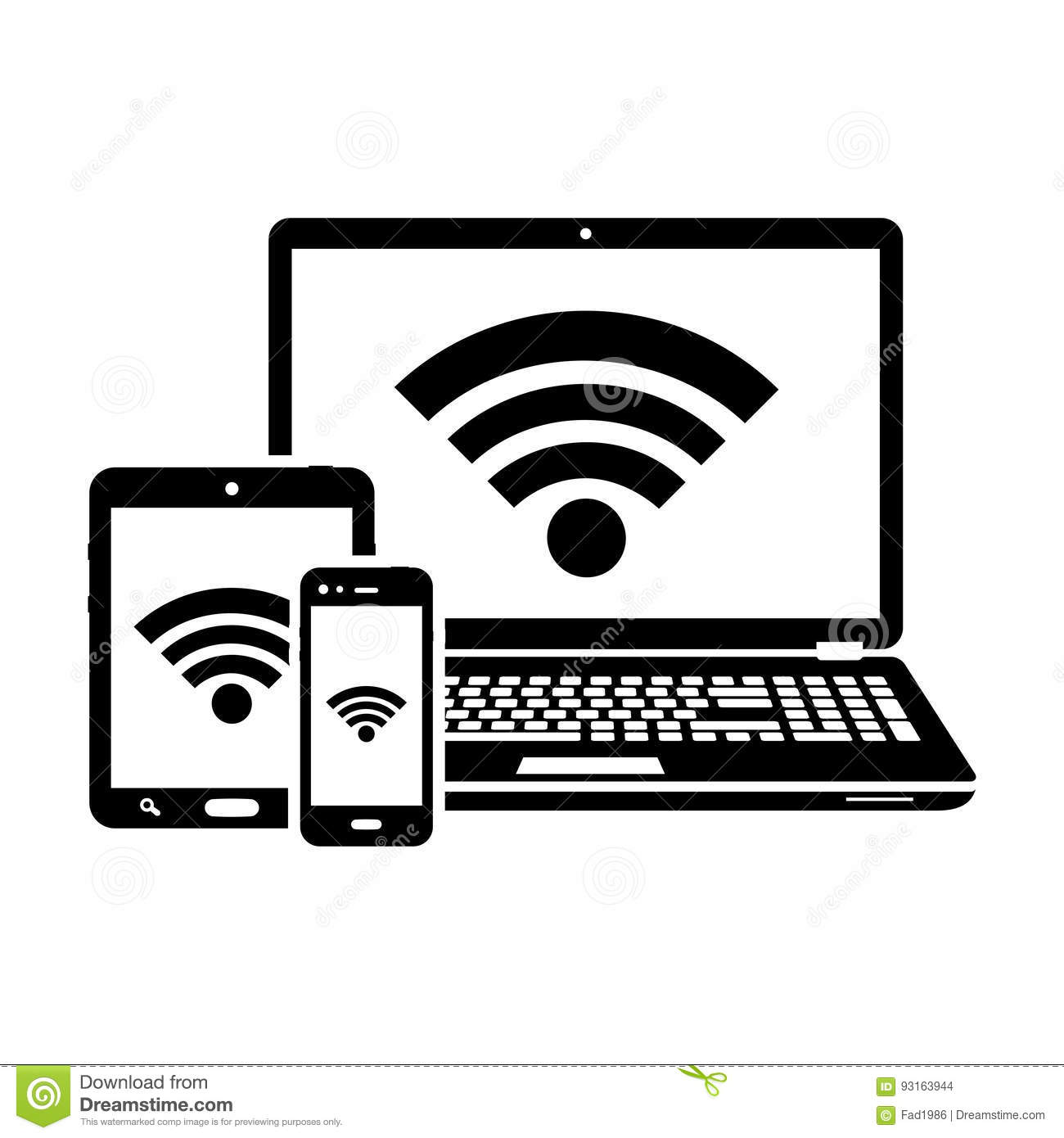 Laptop Tablet And Smartphone Icons With Wifi Internet Connection