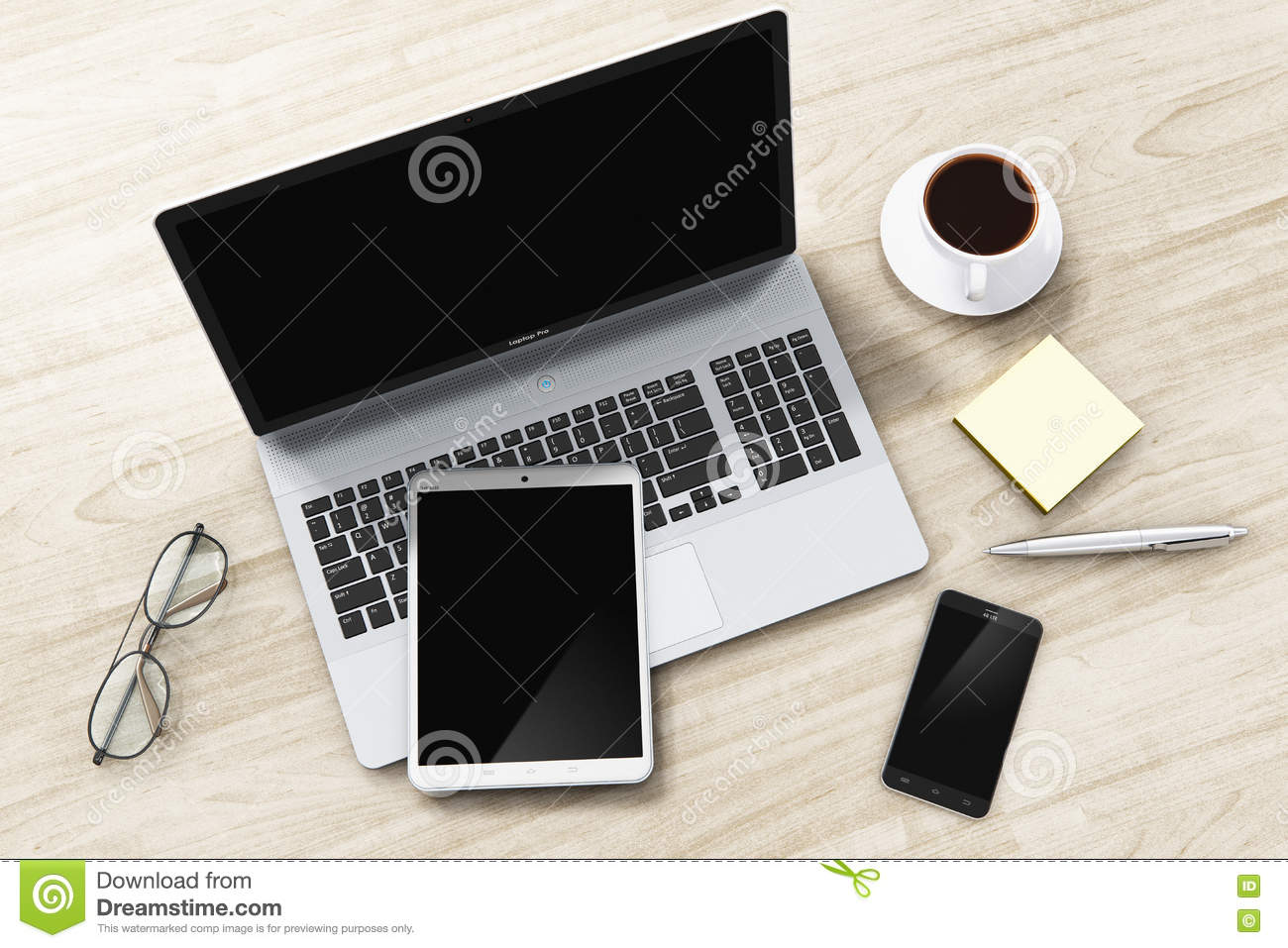 Laptop, tablet and smartphone on office table