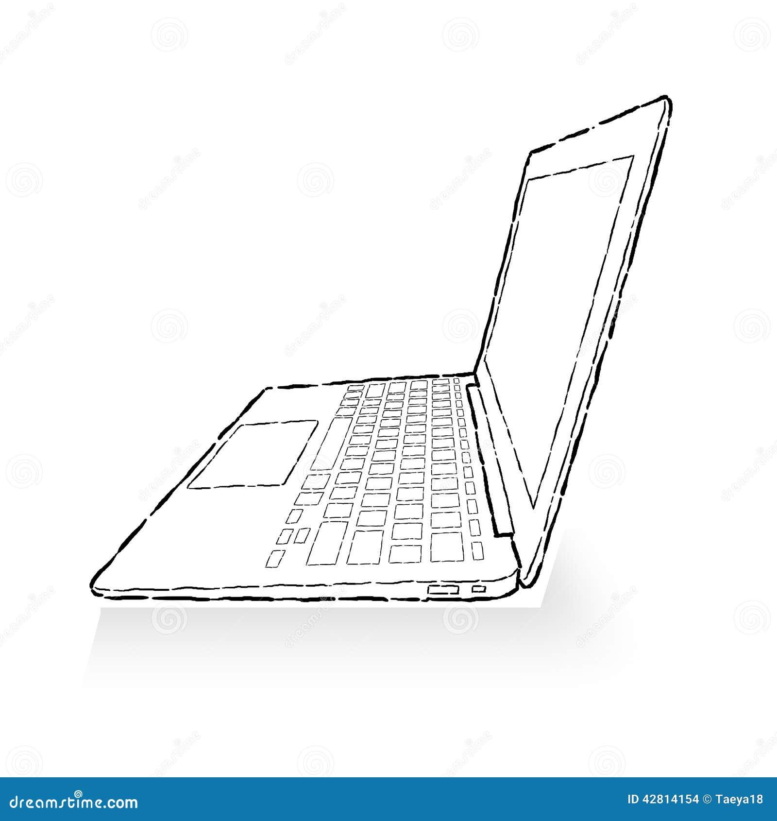 laptop tekening stock illustratie illustratie bestaande