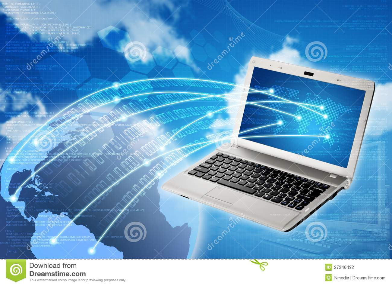Laptop To Worldwide Connection Stock Illustration ... Laptop Vector Illustration