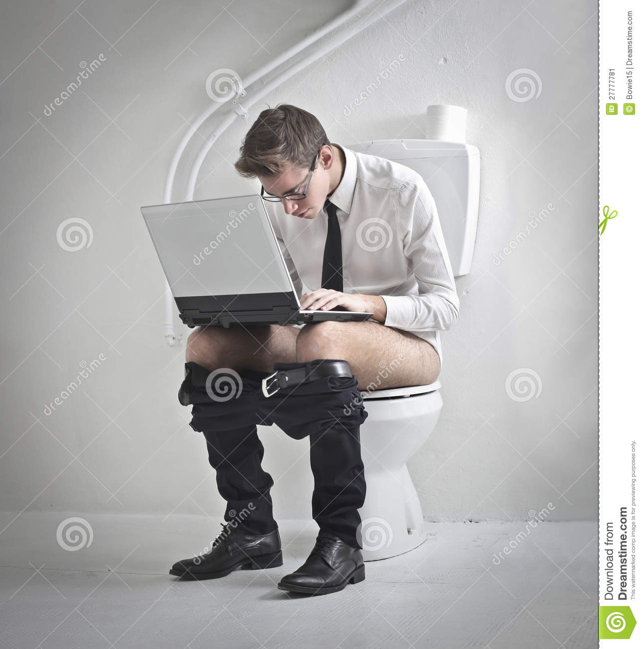 Laptop On The Toilet Stock Image Image Of Computer Work