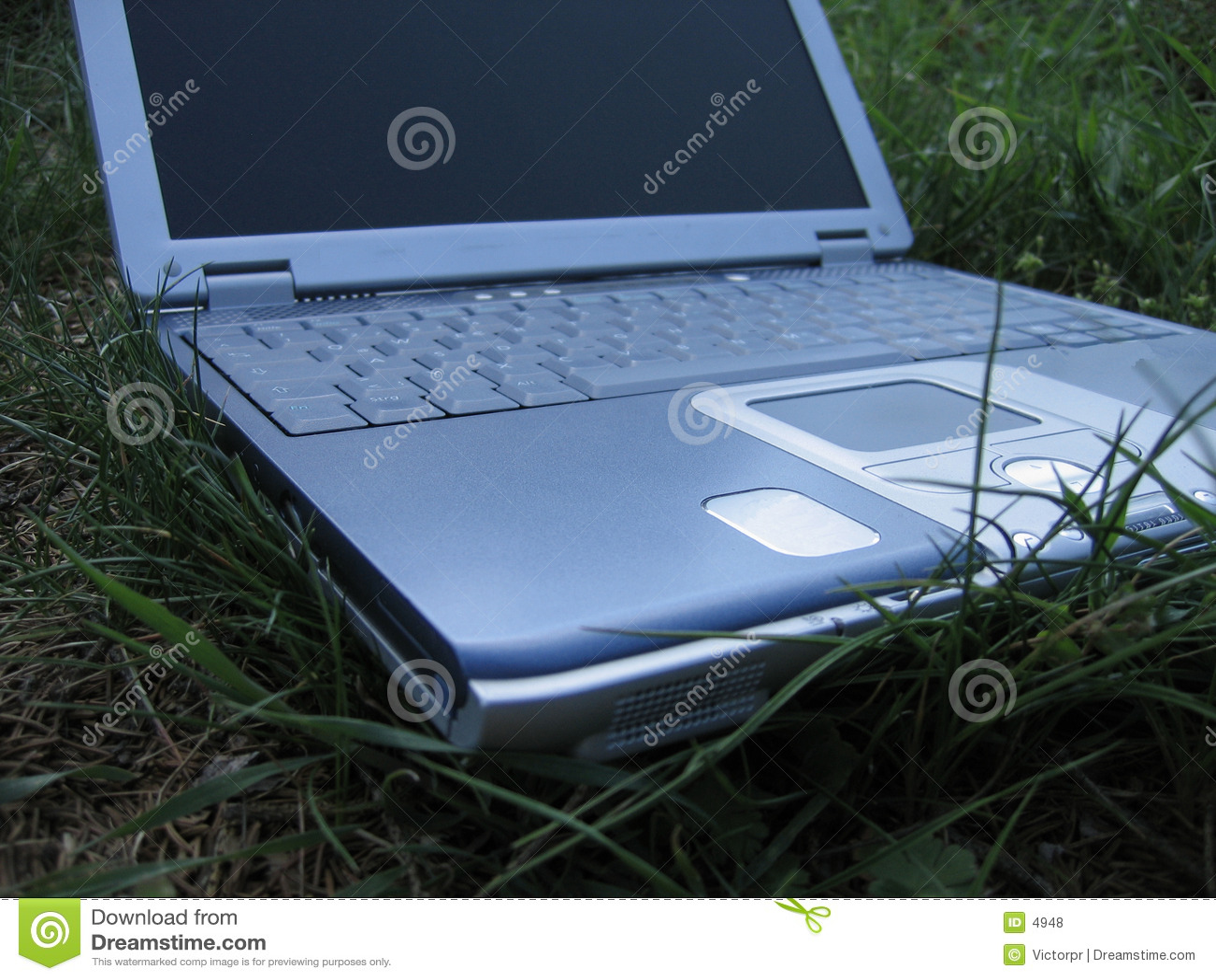 Laptop trawy.