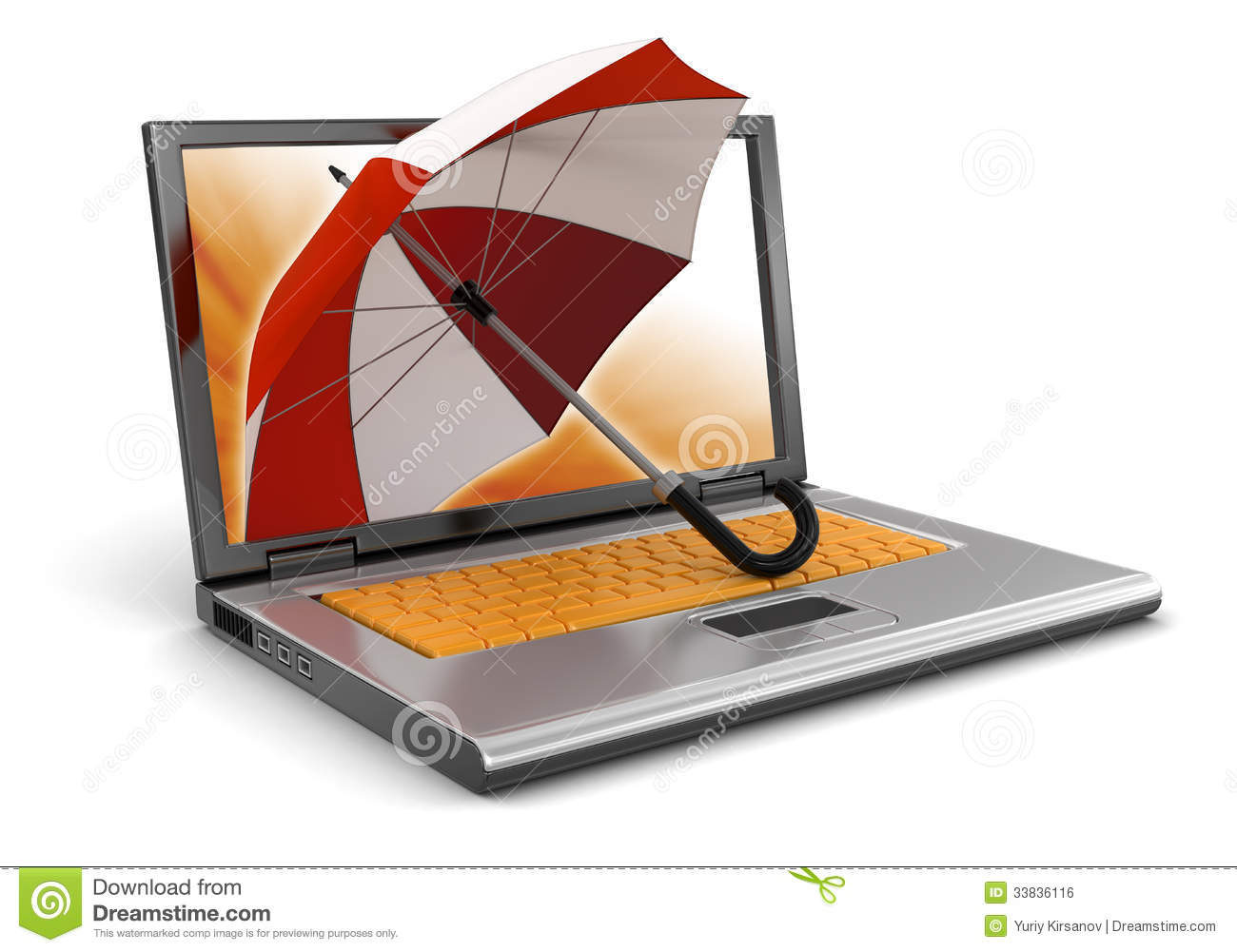 Laptop And Umbrella Clipping Path Included Royalty Free