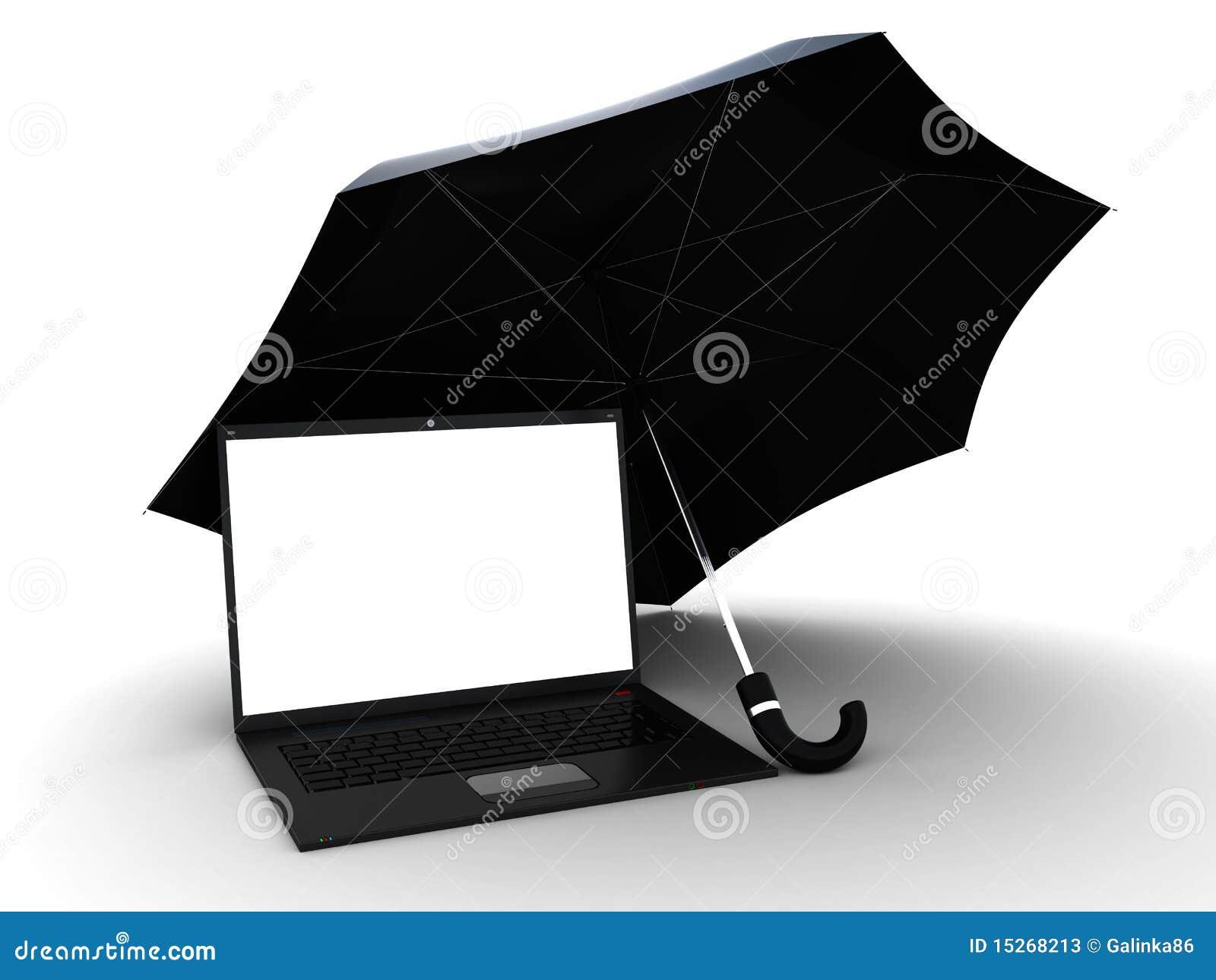 Laptop Under Umbrella Stock Photos Image 15268213