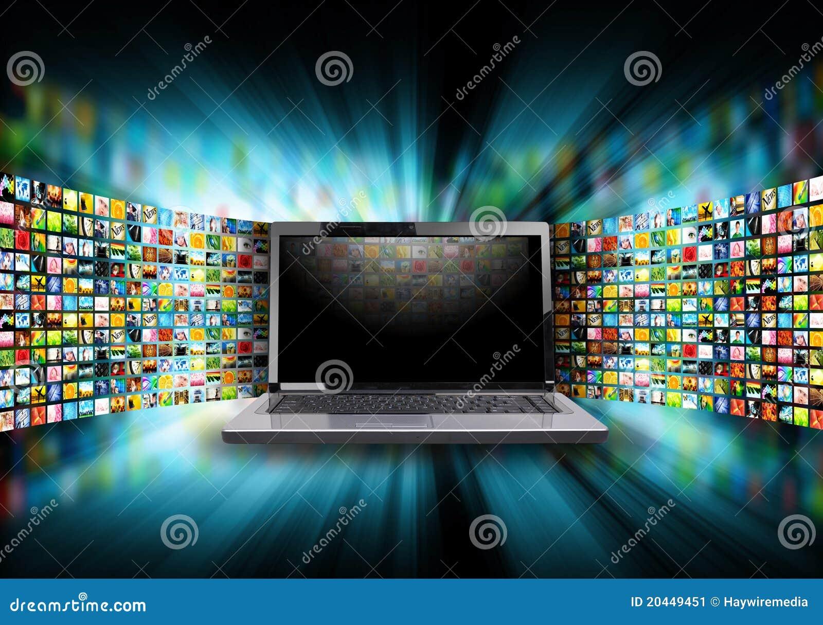 Laptop van de Computer van Internet met het Album van het Beeld