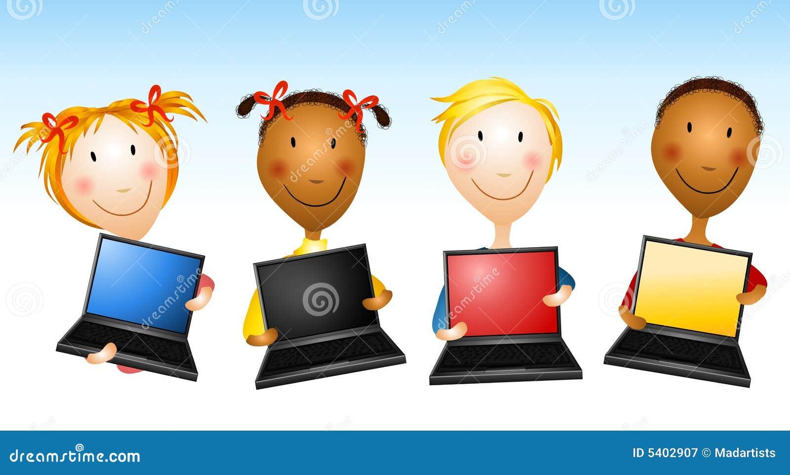 Laptop van de Holding van jonge geitjes Computers