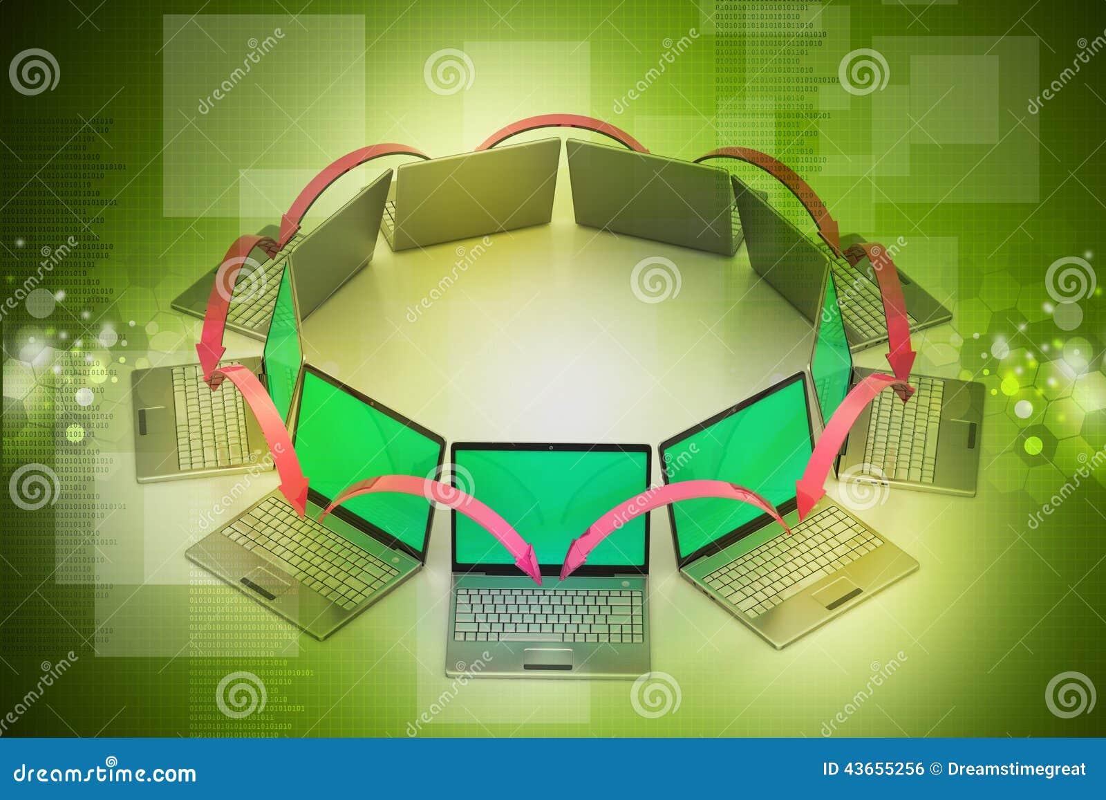 Laptop voorzien van een netwerkcirkel stock illustratie afbeelding 43655256 - Een wasruimte voorzien ...