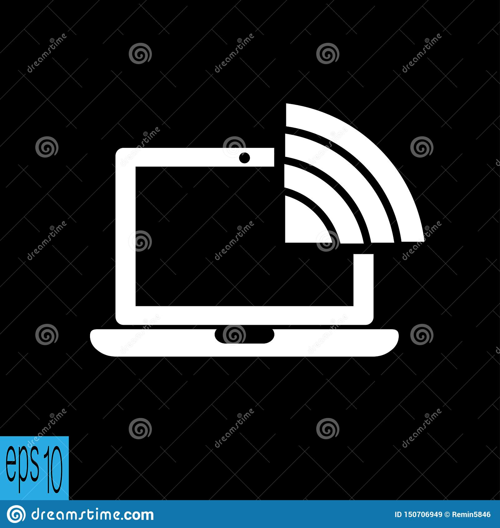 Laptop wifi, WiFi-pictogram - vectorillustratie
