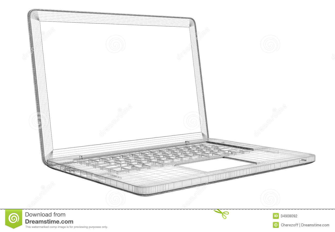 Laptop. Wire frame stock illustration. Illustration of digital ...