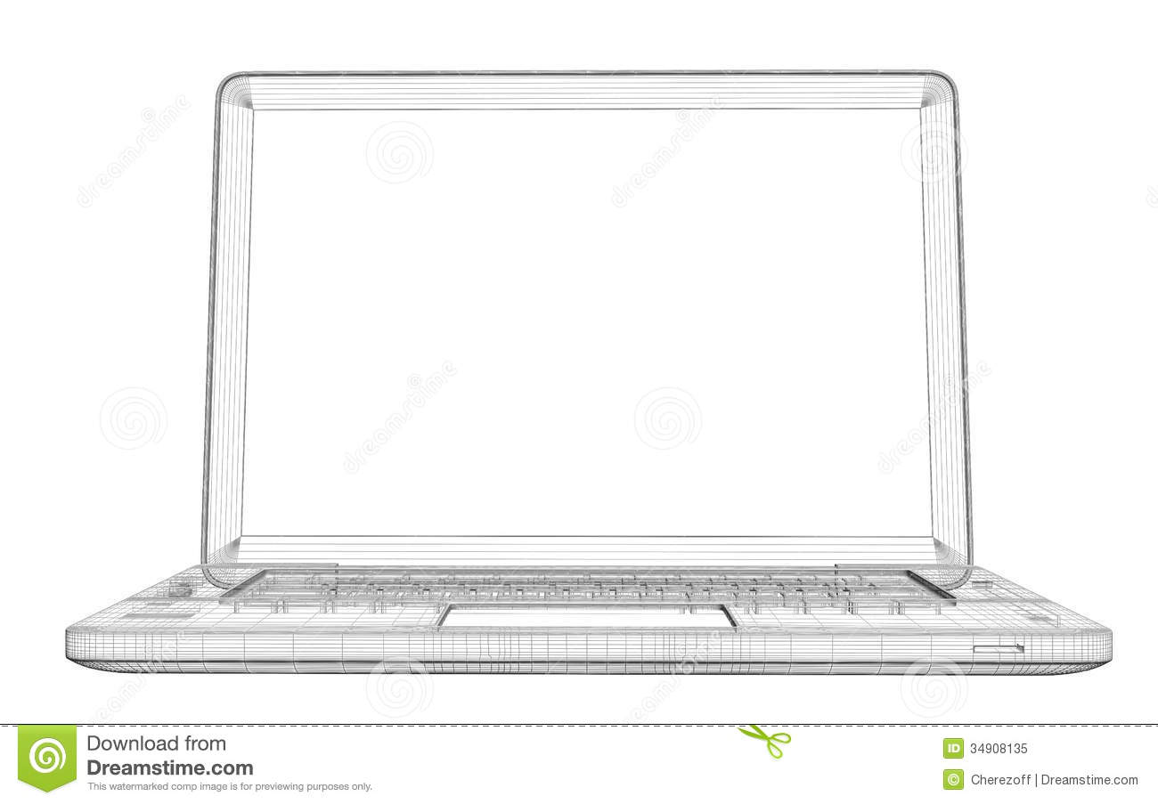 Laptop. Wire frame stock illustration. Illustration of open - 34908135