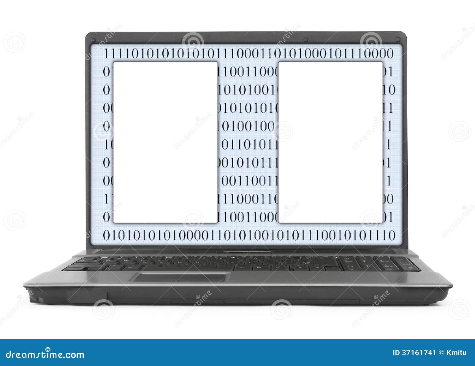 Laptop z abstrakcjonistycznym binarnym kodem i pustą przestrzenią