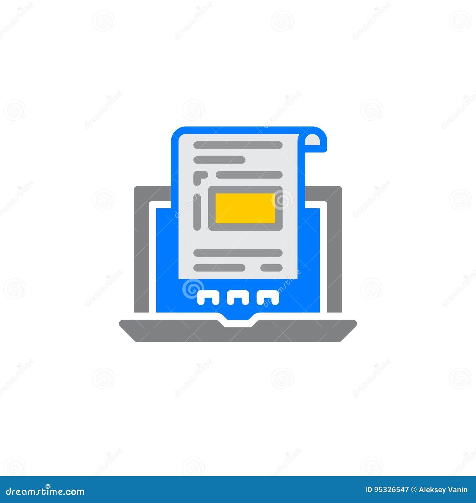 Laptop z dokumentem, fakturowy ikona wektor, wypełniający mieszkanie znak, stały kolorowy piktogram odizolowywający na bielu