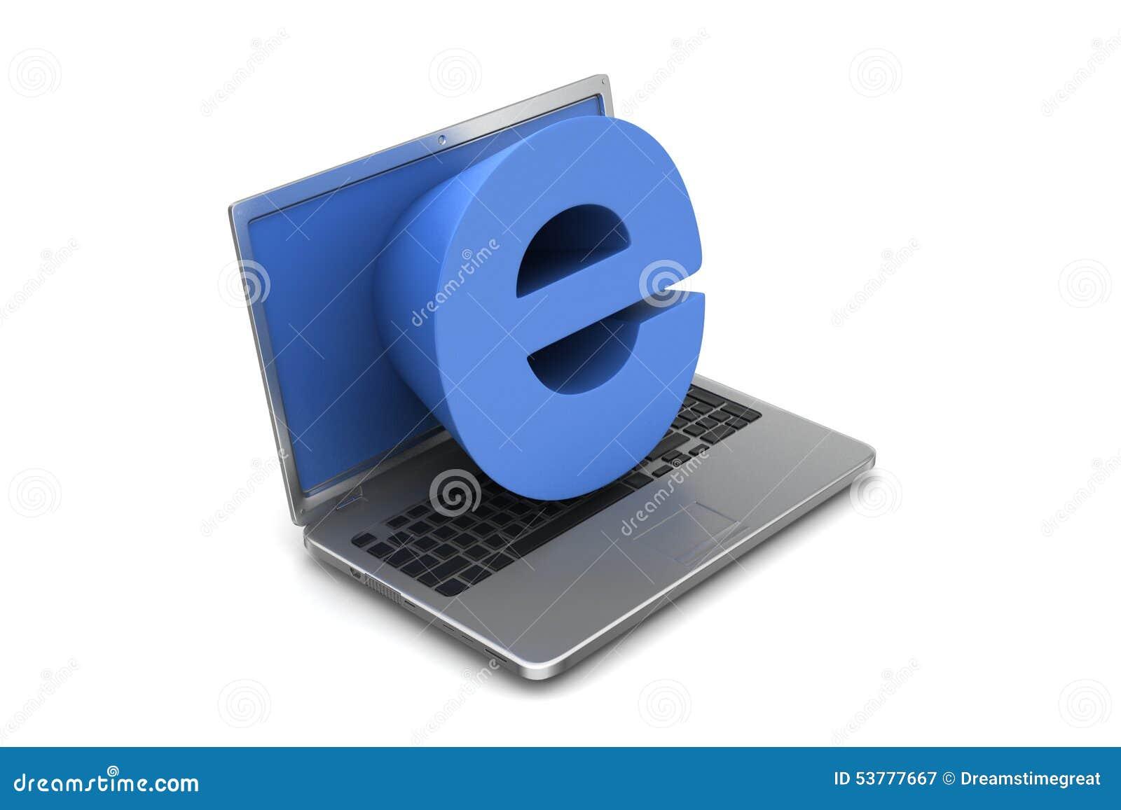 Laptop z e znakiem