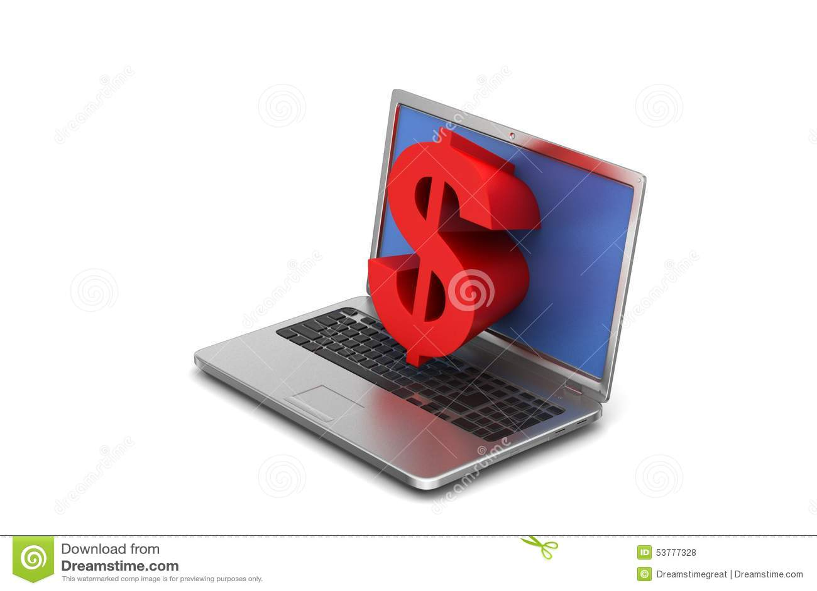 Laptopu dolarowy znak