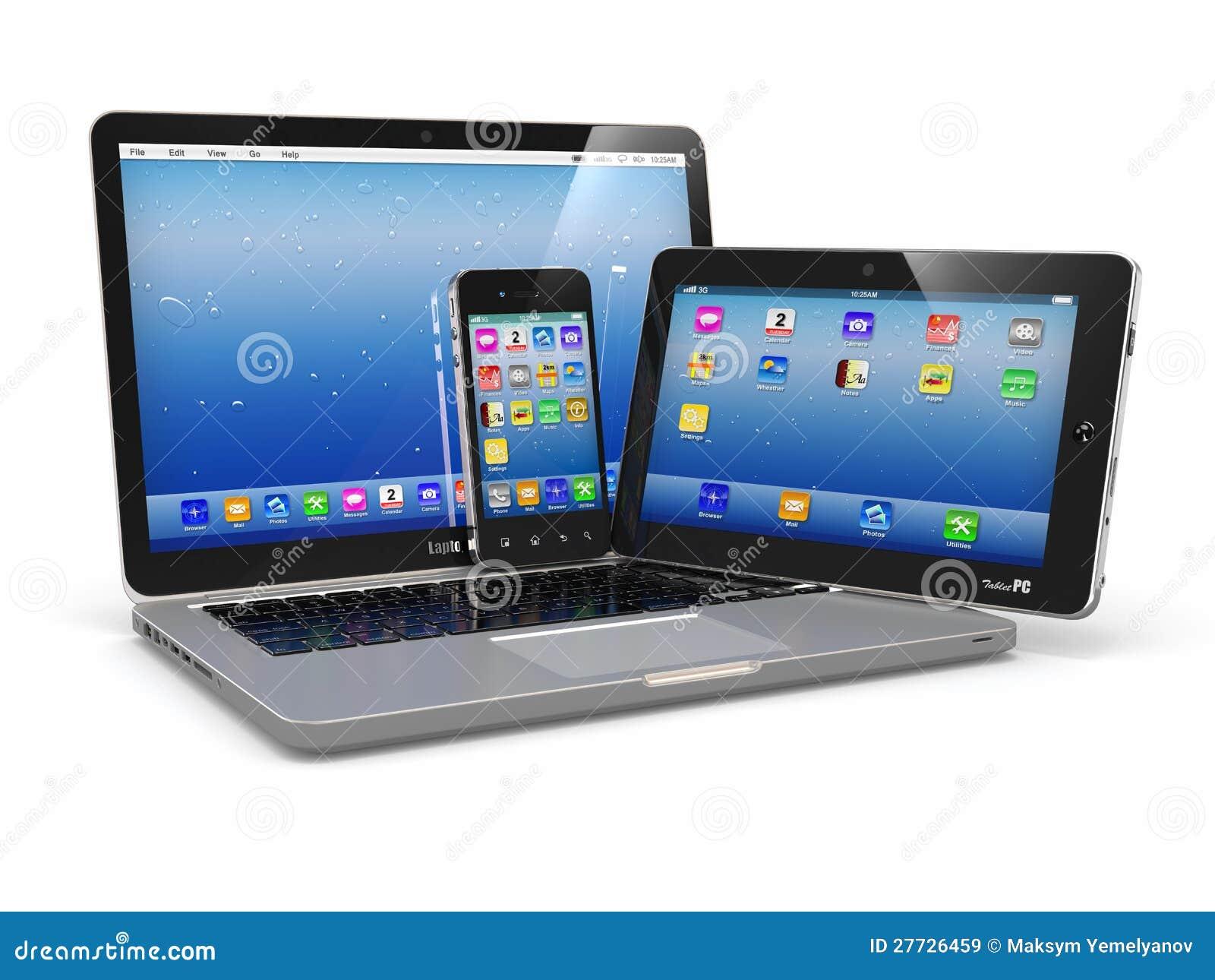 Laptopu telefonu i pastylki komputer osobisty. Urządzenia elektroniczne