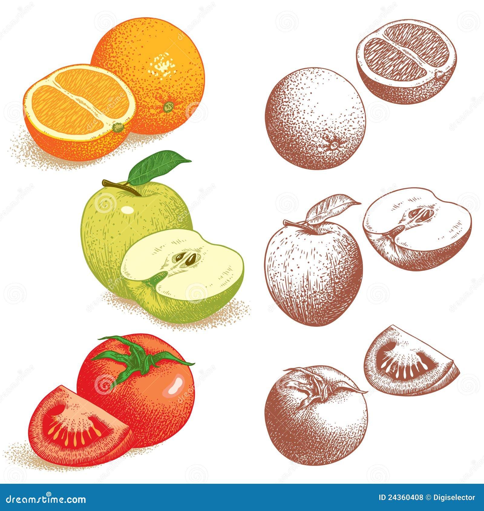 Laranja, Apple, tomate