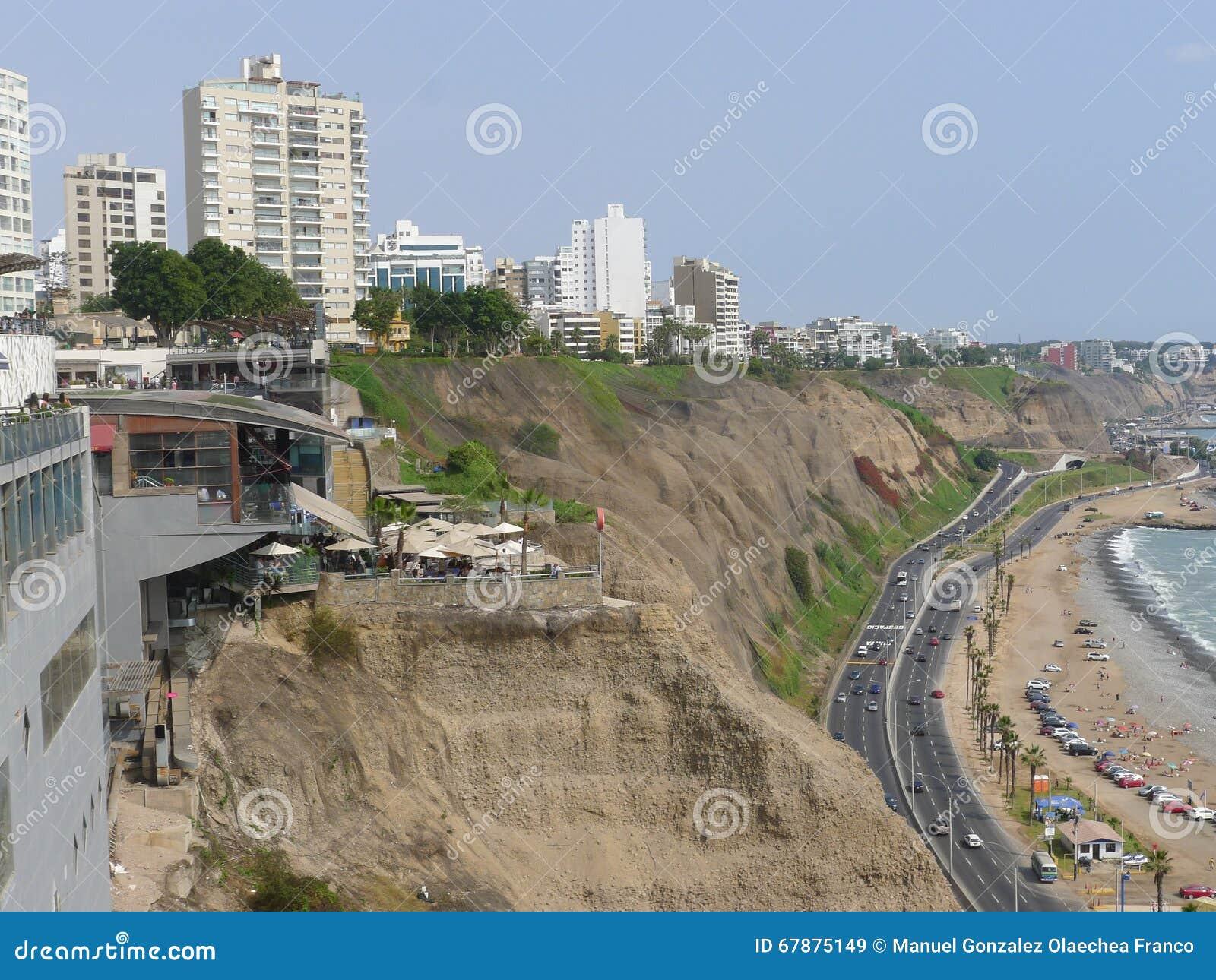 Costa Verde Green Coast In Miraflores Editorial Photo