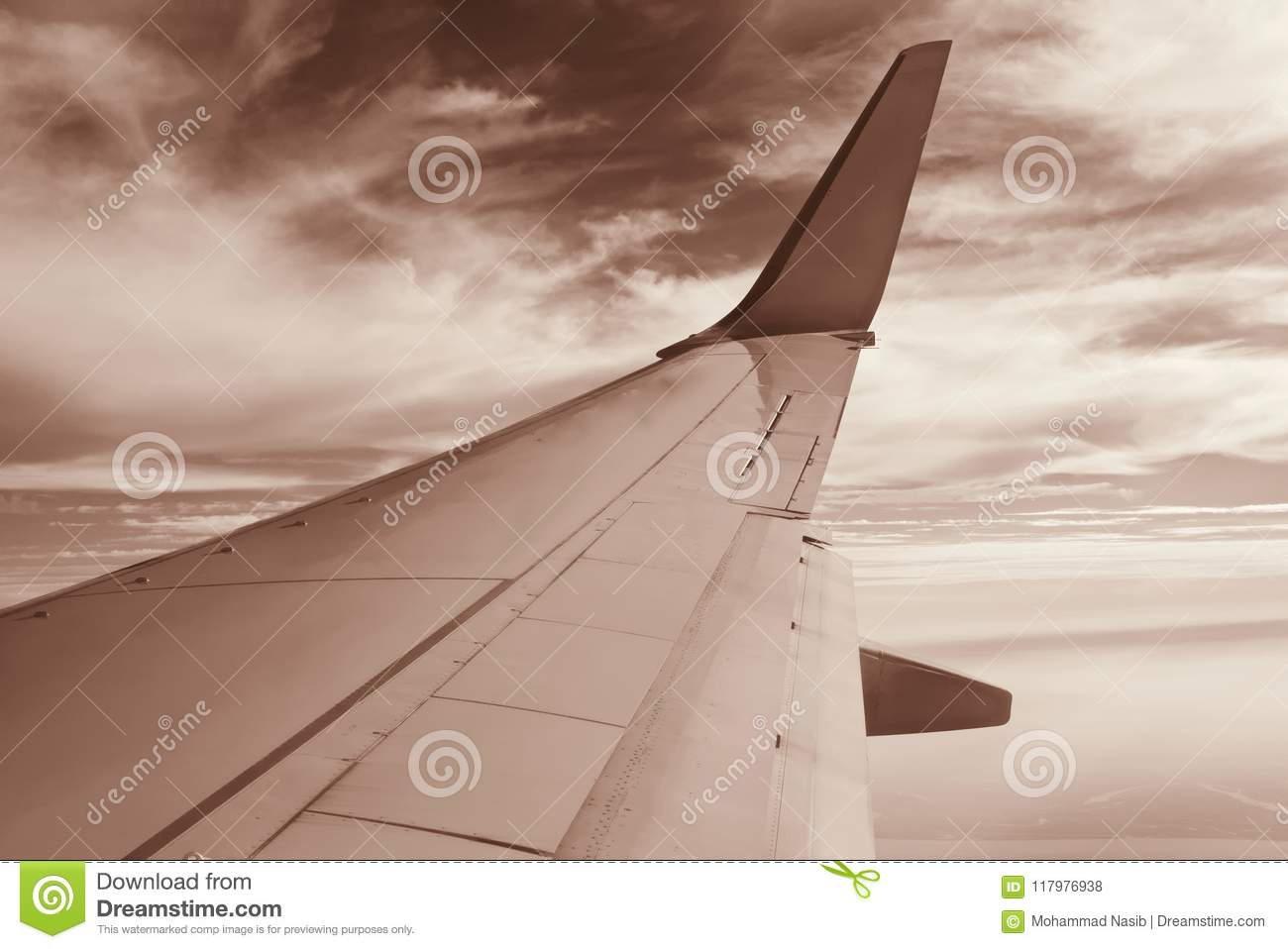 Download Large Aircraft Wings In The Sky  Unique Photo Stock Photo - Image of technology, royalty: 117976938