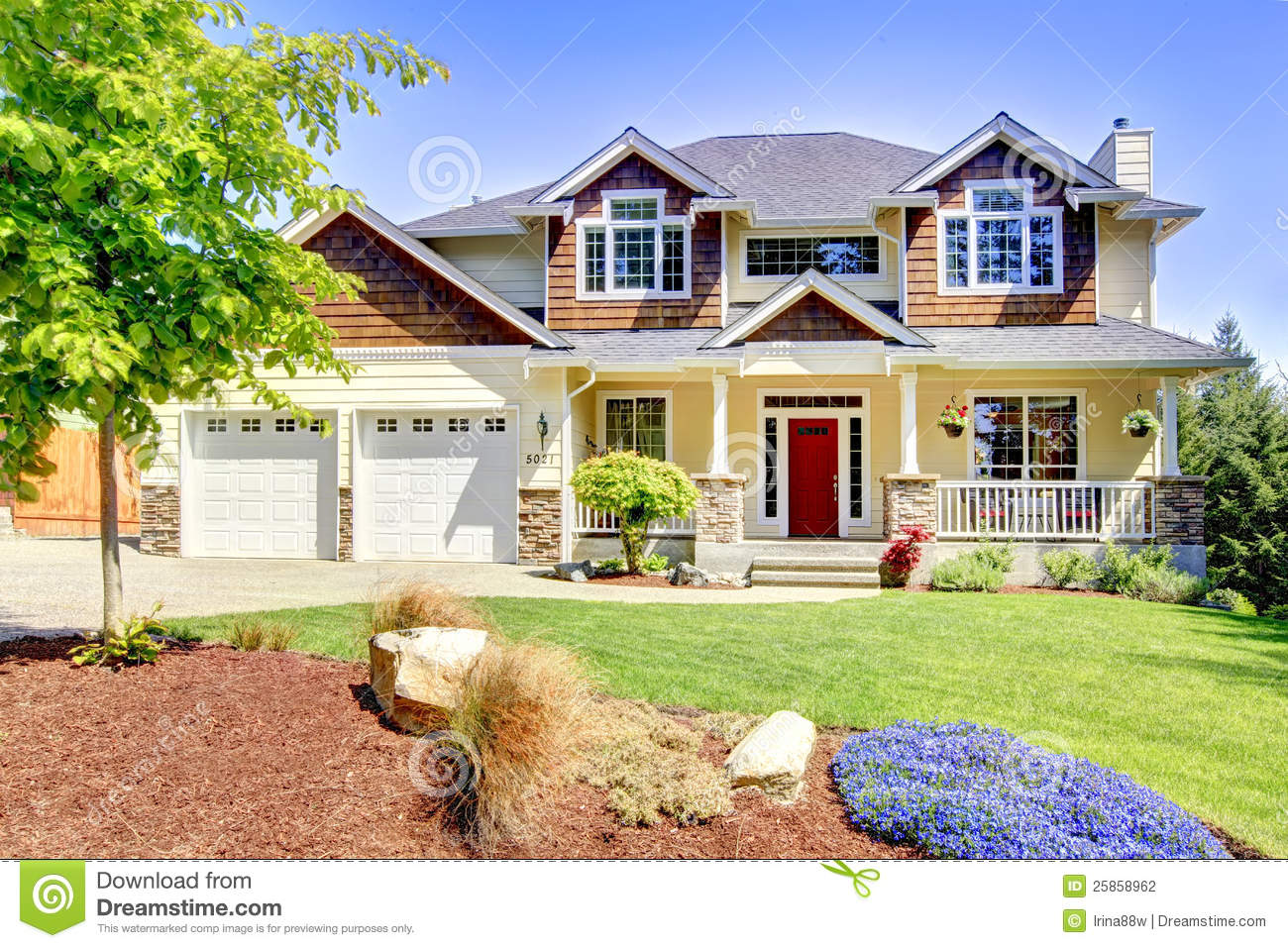 Large American Beautiful House With Red Door Stock Photo