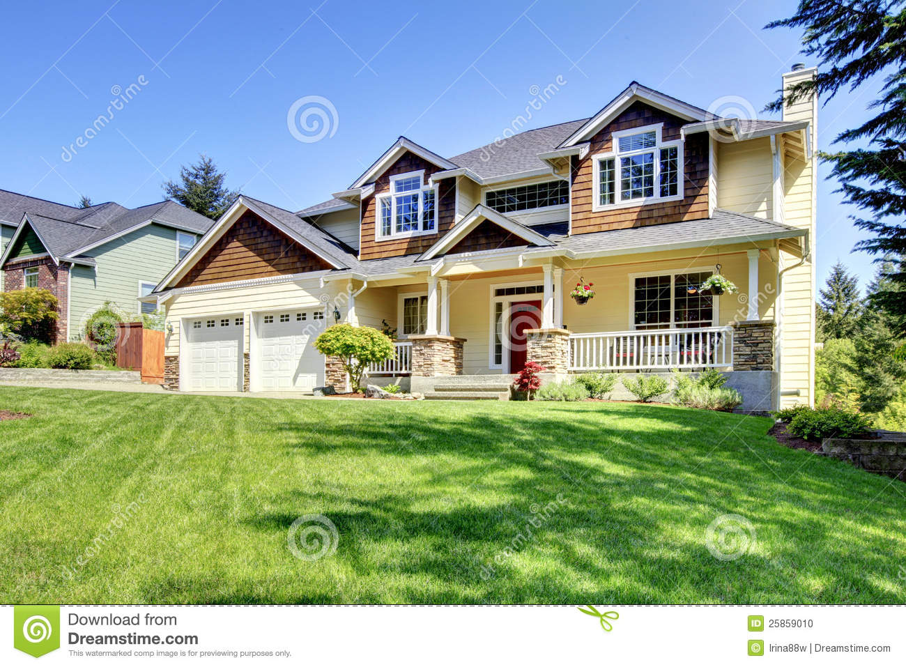 Large american beautiful house with red door stock photo for Big houses in america