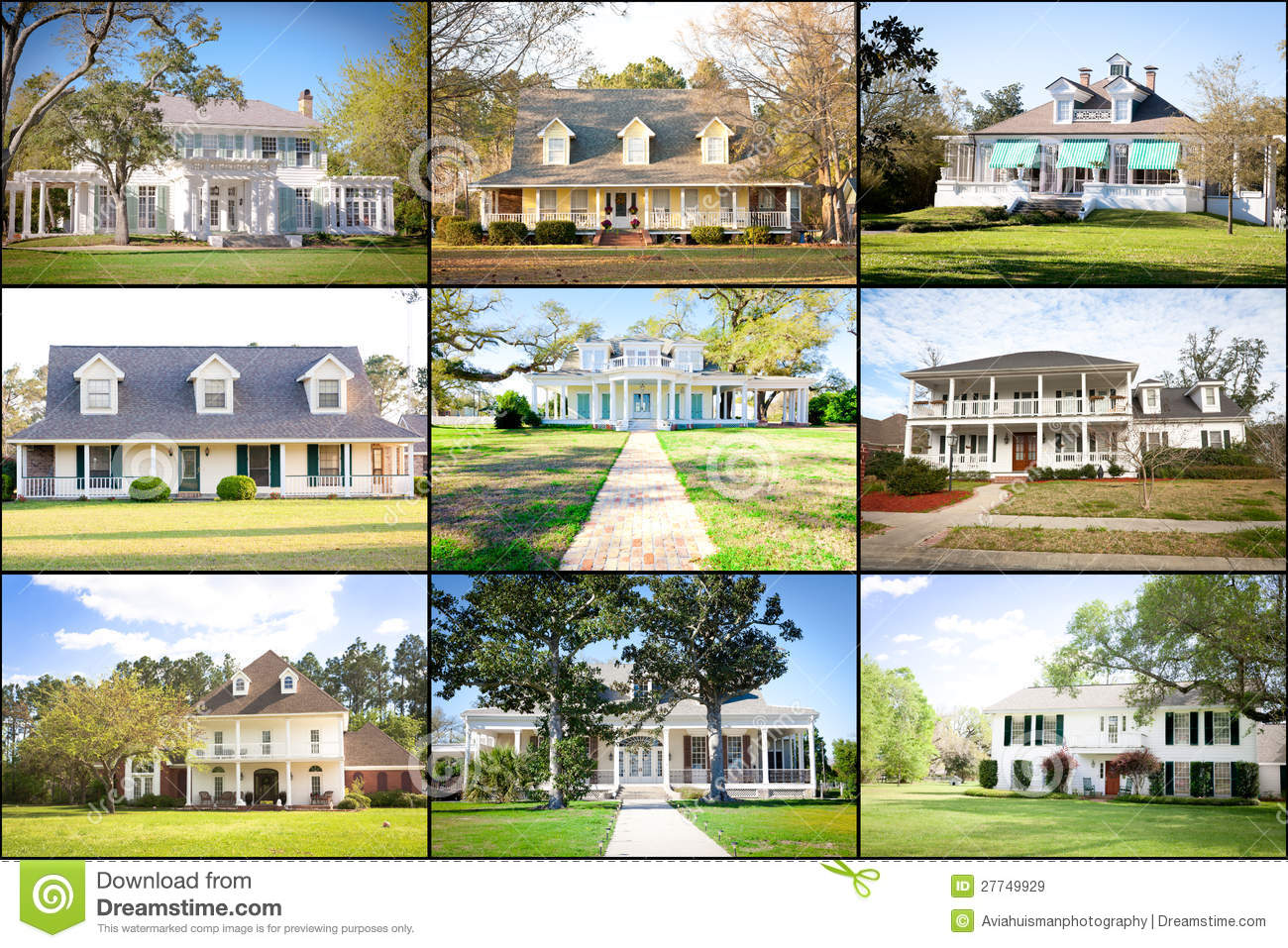 Large american homes collage royalty free stock images for Big houses in america