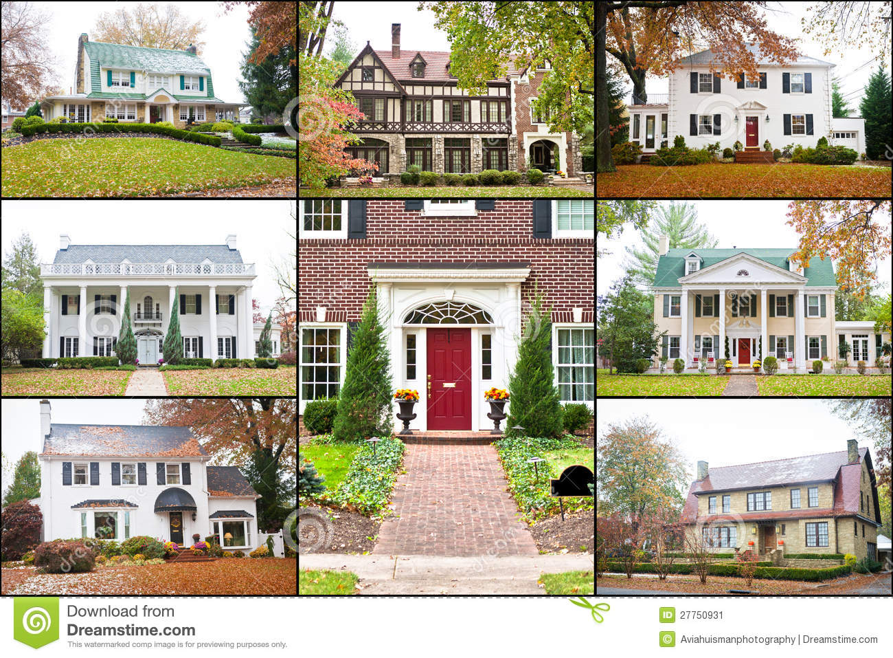 Georgian Style House Plans Large American Luxury Homes Collage Stock Image Image
