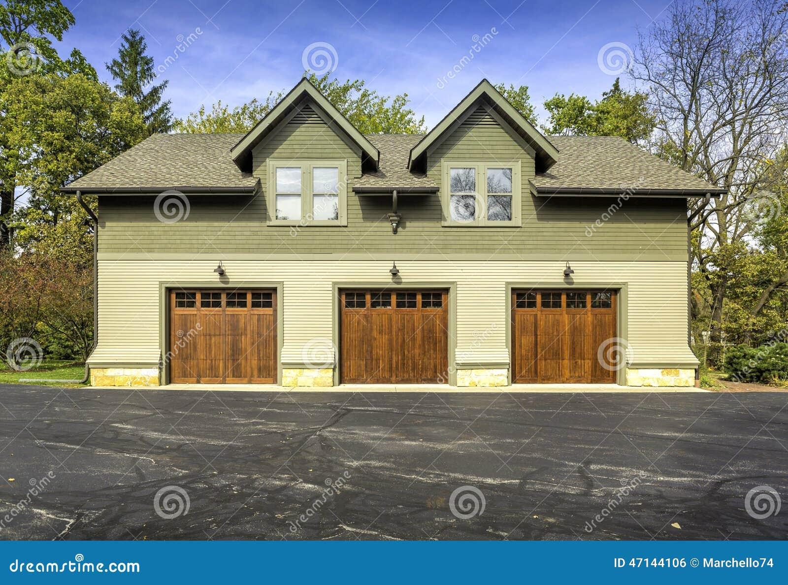 Large American Three Door Car Garage Stock Photo Image