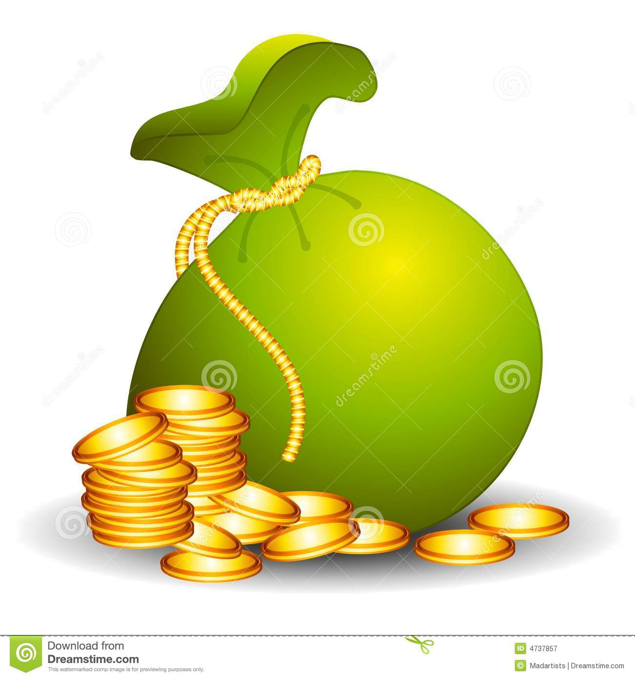 Large Bag of Money With Coins  Sack Of Money Clipart