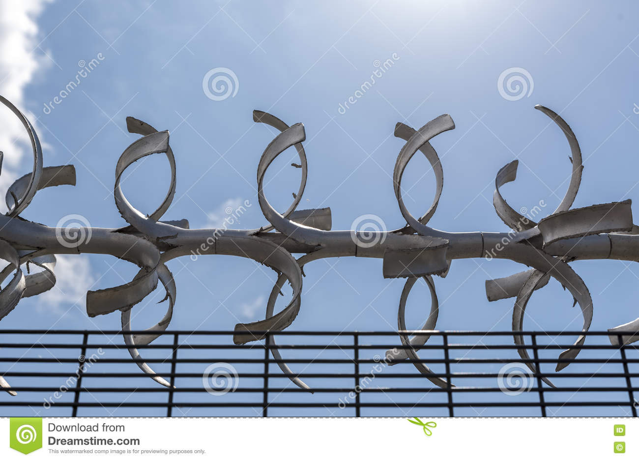 Large Barbed Wire Atop A Fence Stock Image - Image of danger, limit ...