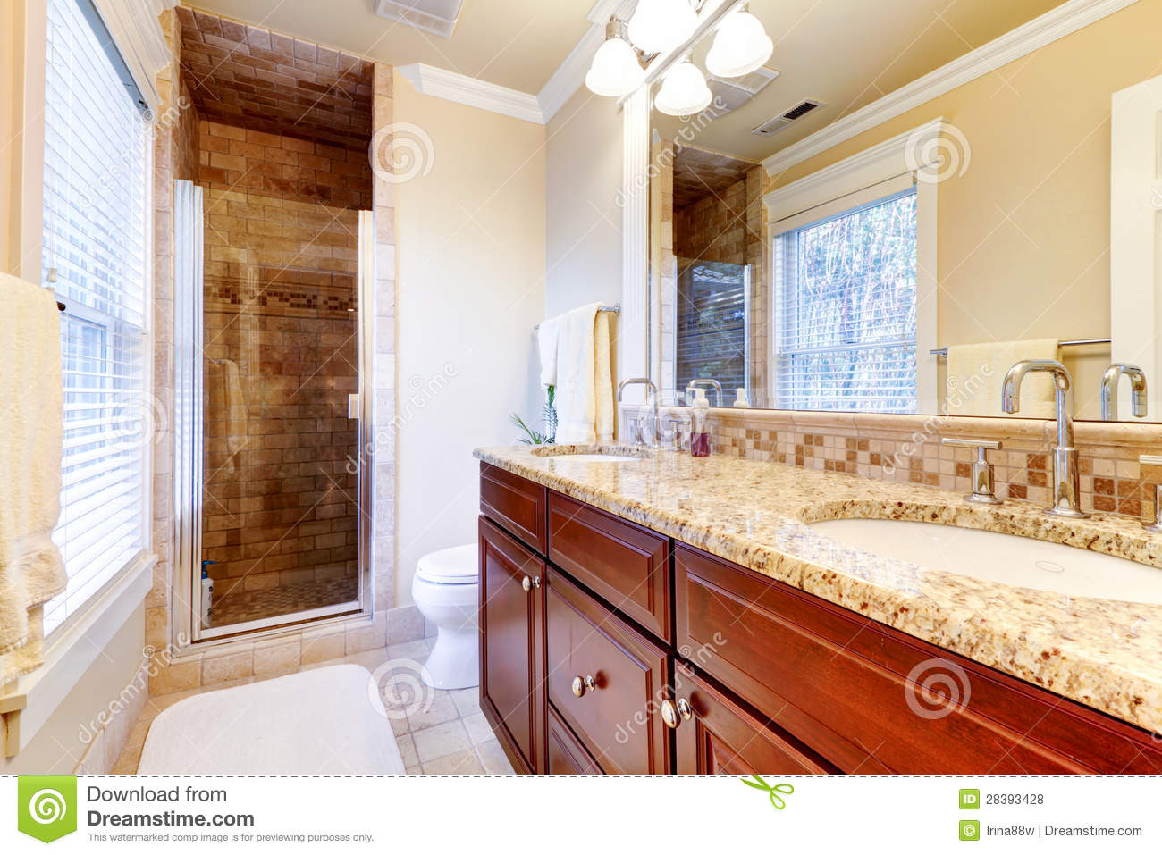 countertop cabinets for the bathroom large bathroom with cherry cabinets and granite countertop 23035