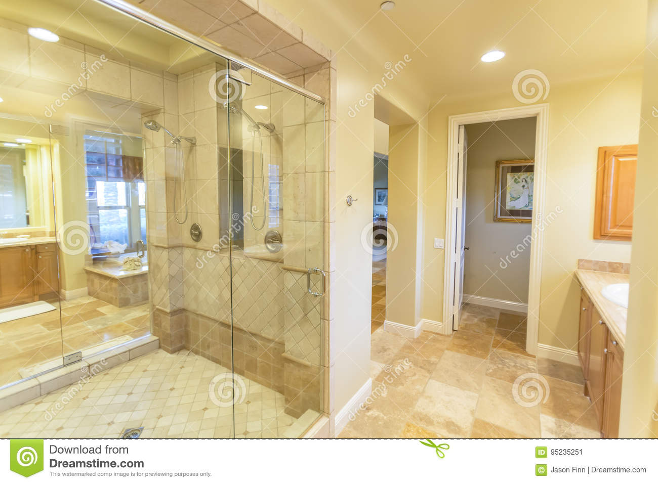 Large bathroom with shower and beautiful tile work in San Diego California