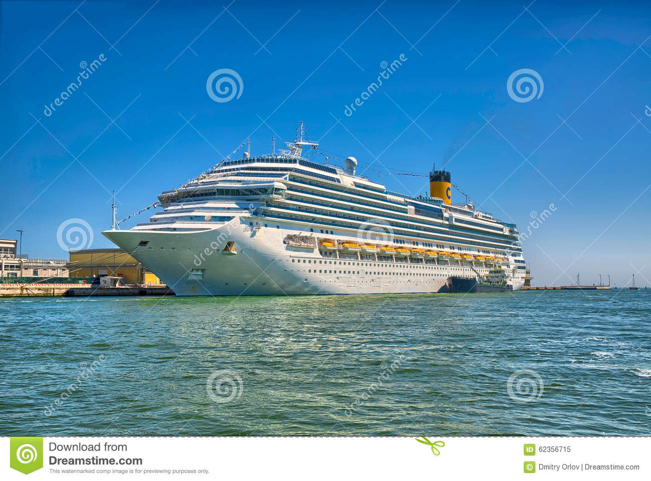 Large Beautiful Cruise Ship At Sea And Nice Clear Sky On