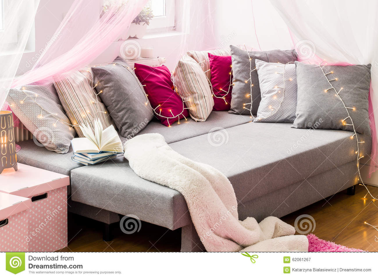 Decorative Cushions For Bed : Large Bed With Decorative Cushions Stock Photo - Image: 62061267
