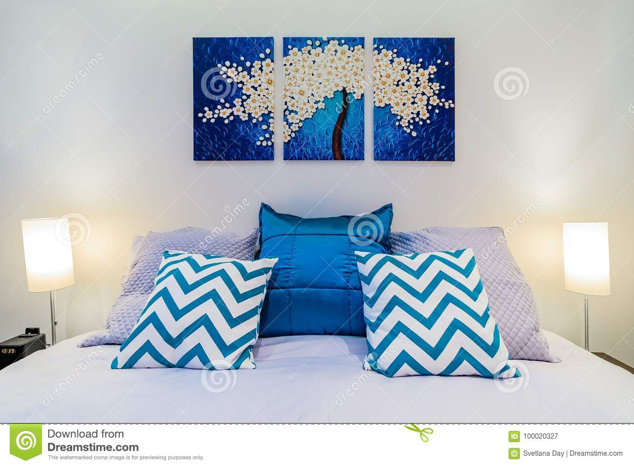 Luxury Bed Close Up With Wall Art In A Modern Bedroom Stock ...