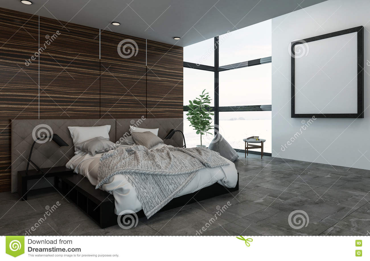 Large Bed With Nightstands In Fancy Bedroom Stock Illustration Illustration Of Hung Inside 80558892