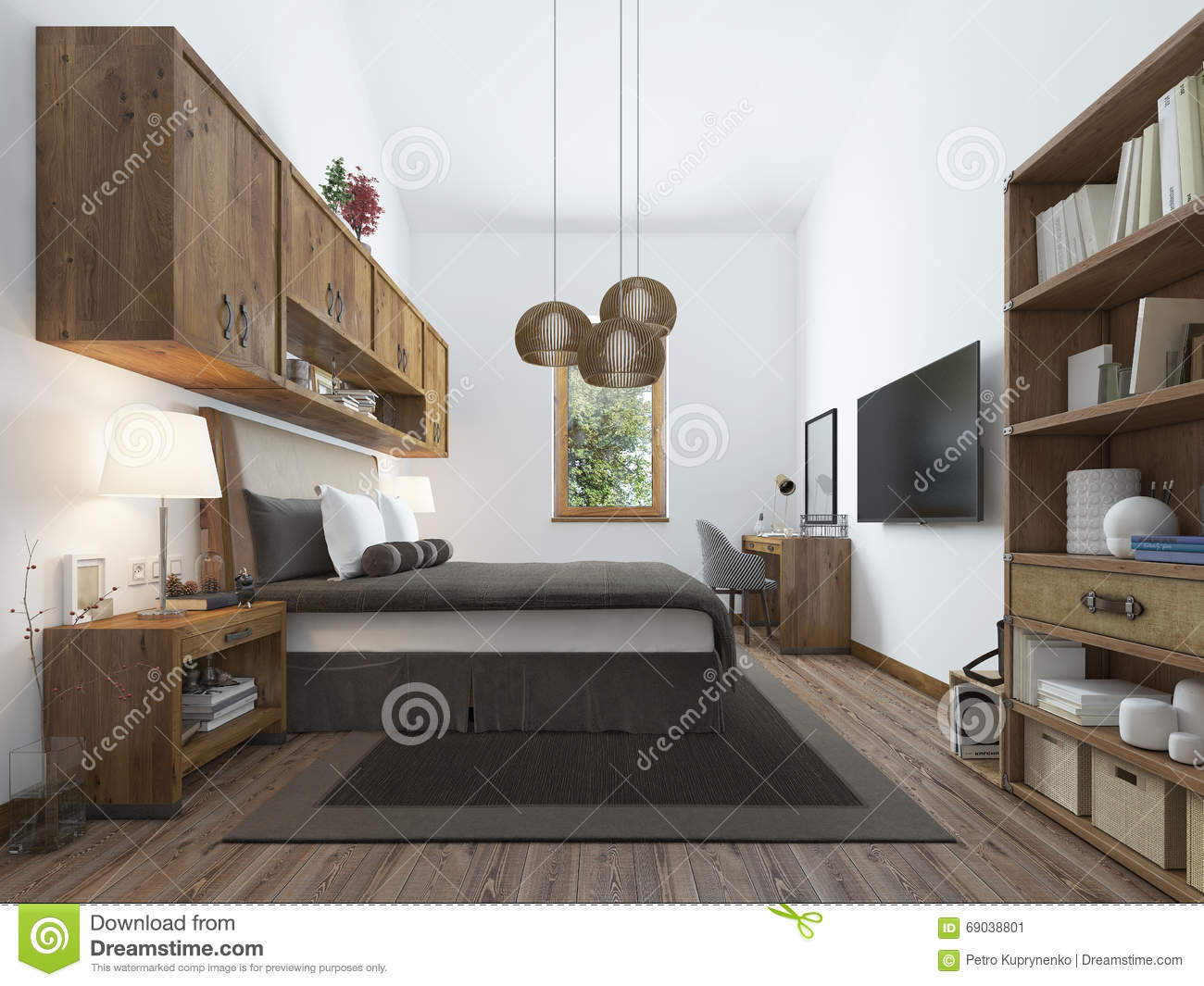 Large Bedroom In Modern Style With Elements Of A Rustic Loft Editorial Photo Image Of Interior Design 69038801