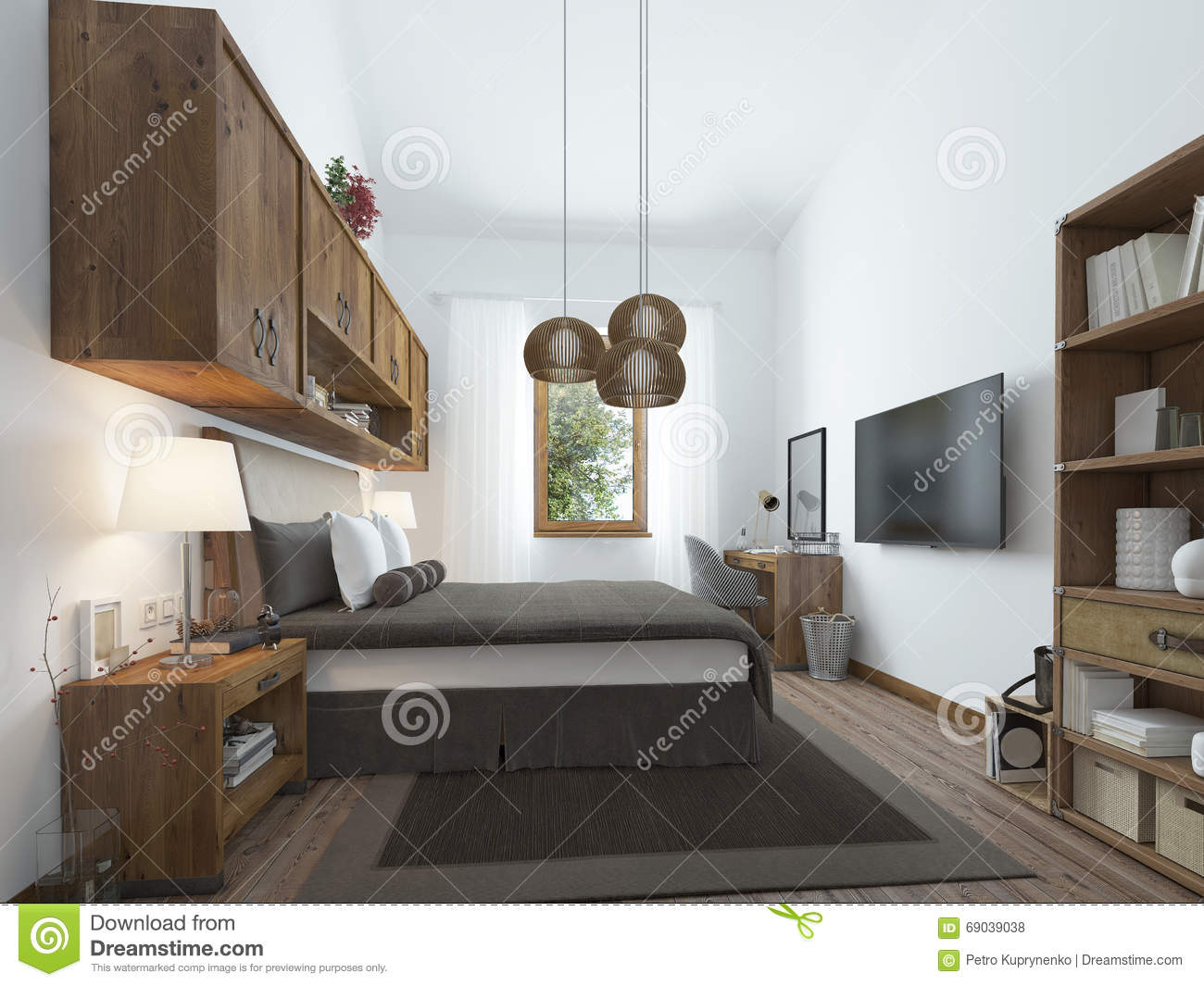Large Bedroom In Modern Style With Elements Of A Rustic Loft Editorial Stock Photo Image Of Large Elements 69039038