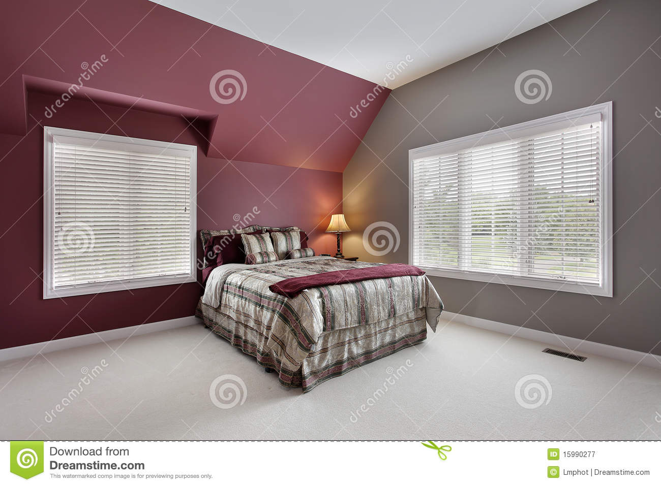 large bedroom with multicolored walls stock image image of table rh dreamstime com