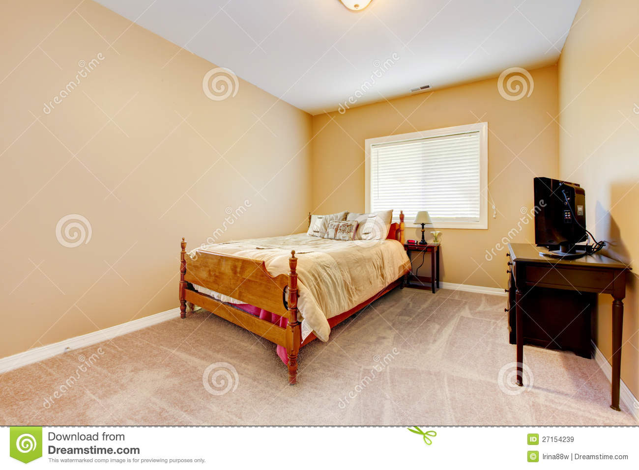 bedroom with yellow walls stock images - image: 15990294