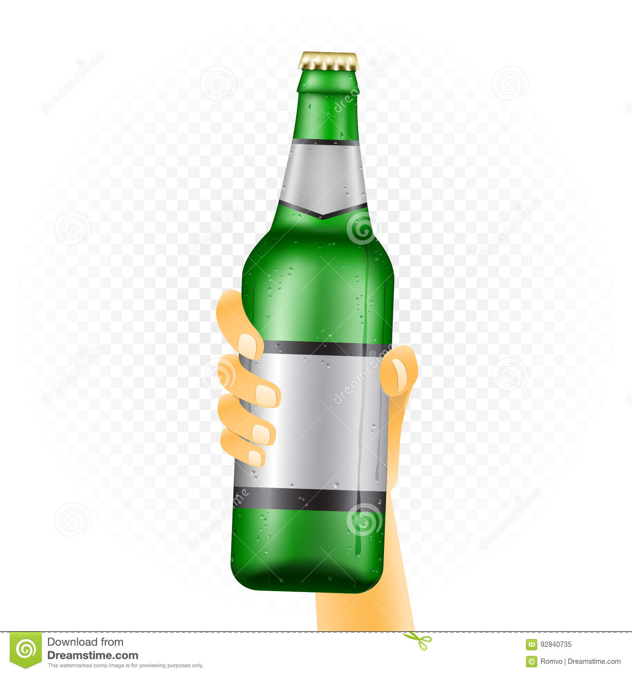 Large beer bottle in hand stock vector  Illustration of drop