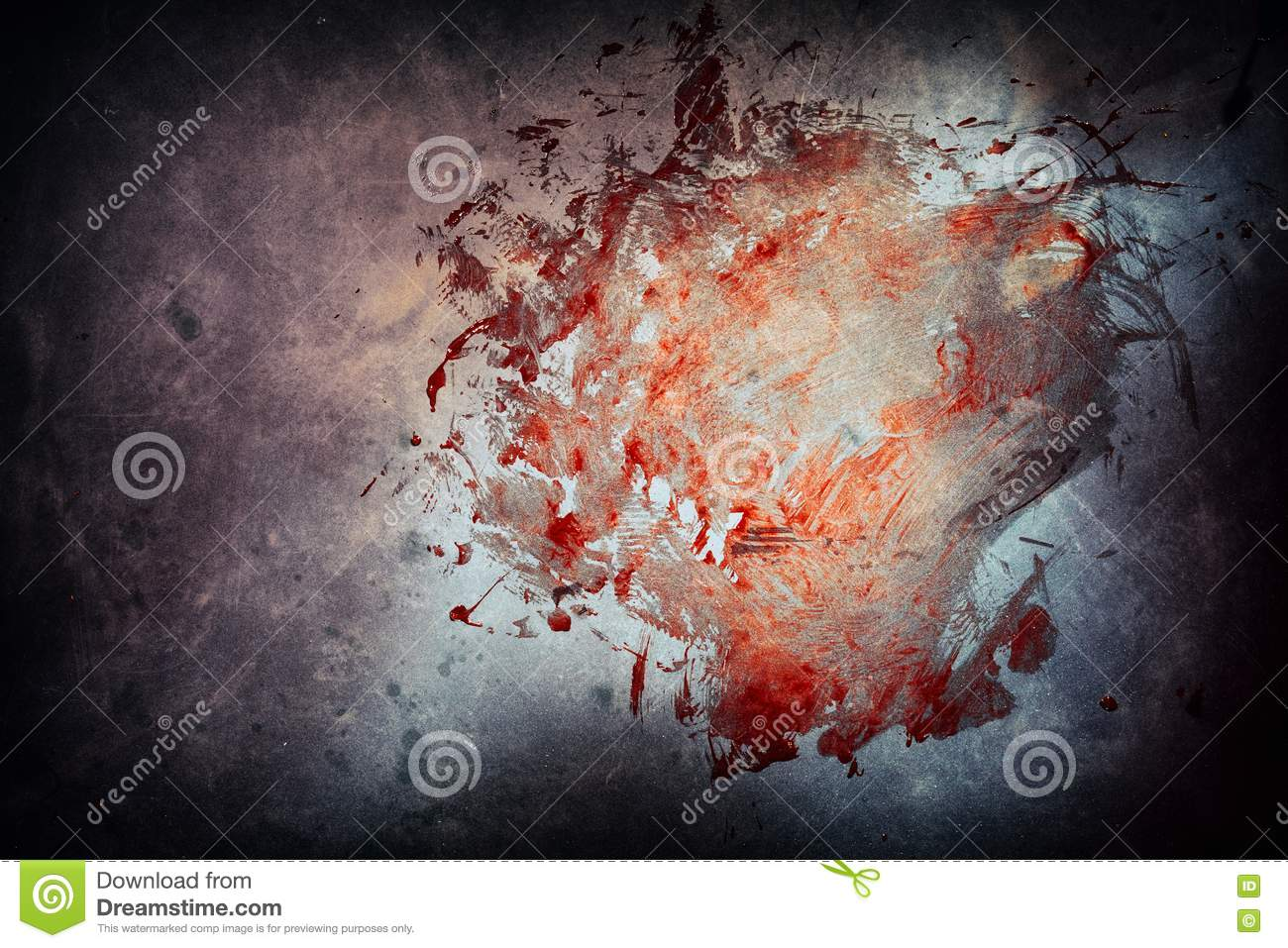 Large bloody smear on cement at a crime scene