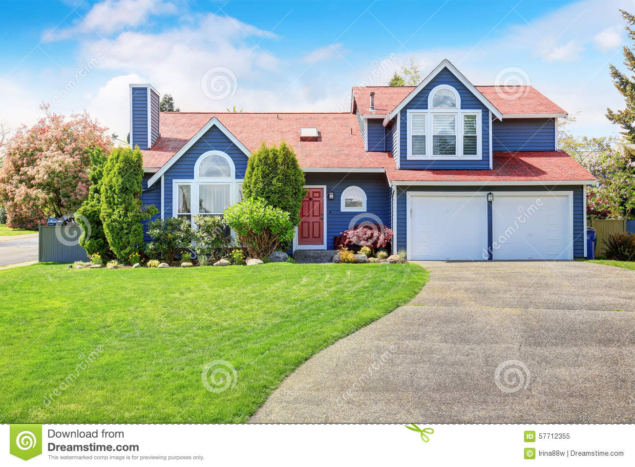 Large blue house with white trim and a nice lawn stock - White house with blue trim ...
