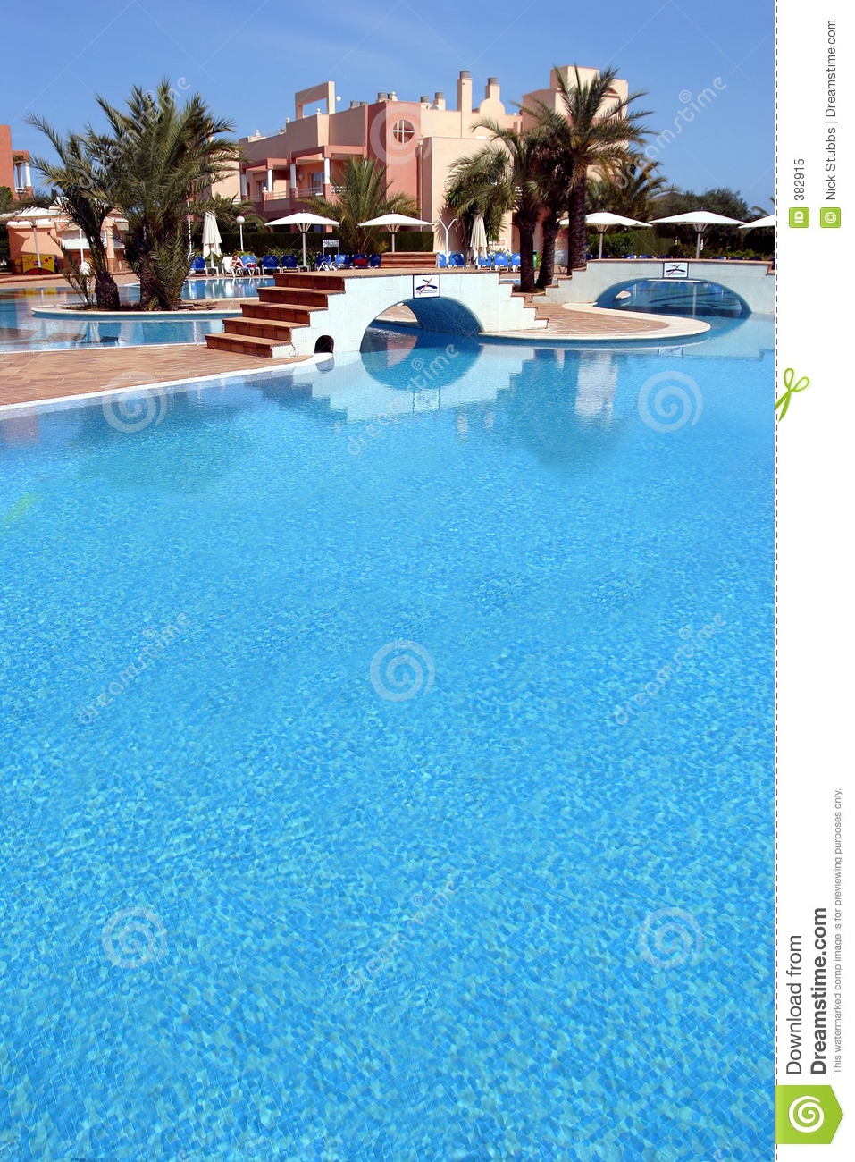 Large Blue Swimming Pool In Luxurious Spanish Complex Royalty Free Stock Photo Image 382915